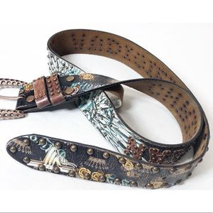 Christian Audigier Studded Signature leather belt